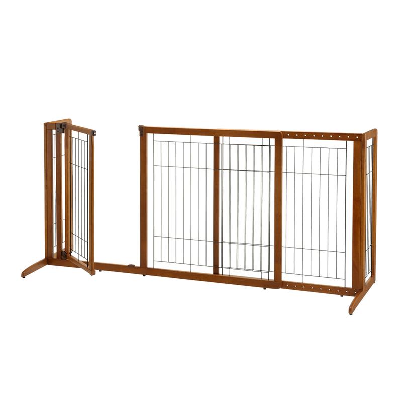 Deluxe Freestanding Pet Gate Dog Enclosures Pet Furniture