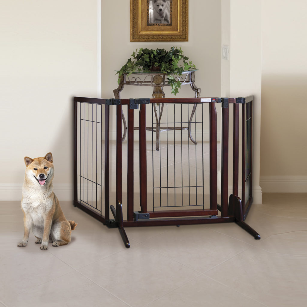 Freestanding Dog Gates Freestanding P Plus Cherry Brown