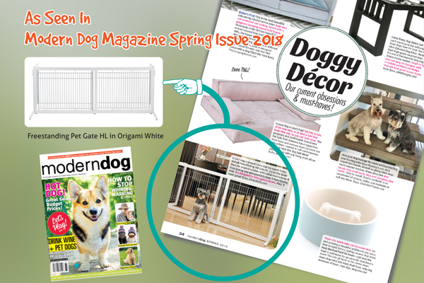 As Seen In Modern Dog Magazine – Freestanding Pet Gate