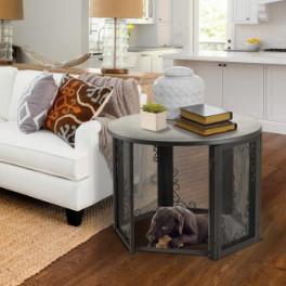 black labrador retriever puppy sleeping inside Accent Table Pet Crate Medium