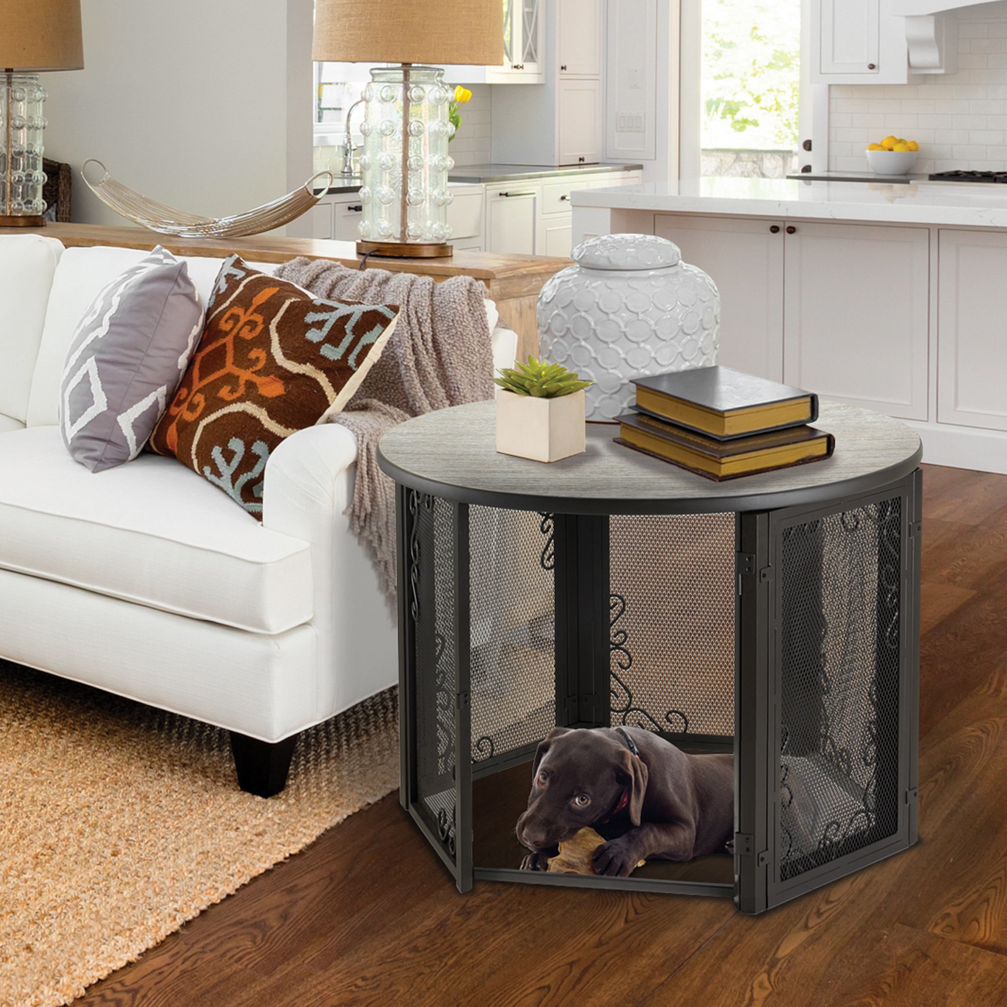 black labrador retriever puppy sleeping inside Accent Table Pet Crate Medium